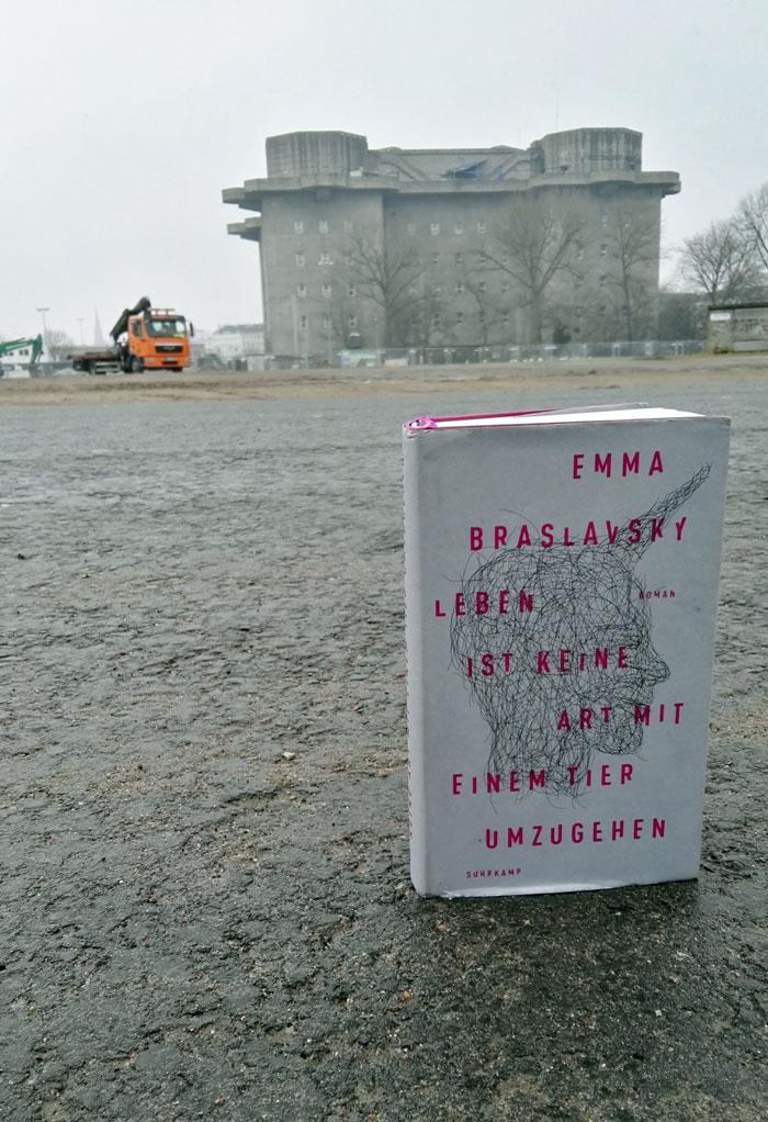 """Dieses Bild zeigt das Cover von Emma Braslavskys Roman """"Leben ist keine Art mit einem Tier umzugehen"""" vor dem Bunker an der Feldstraße Hamburg."""