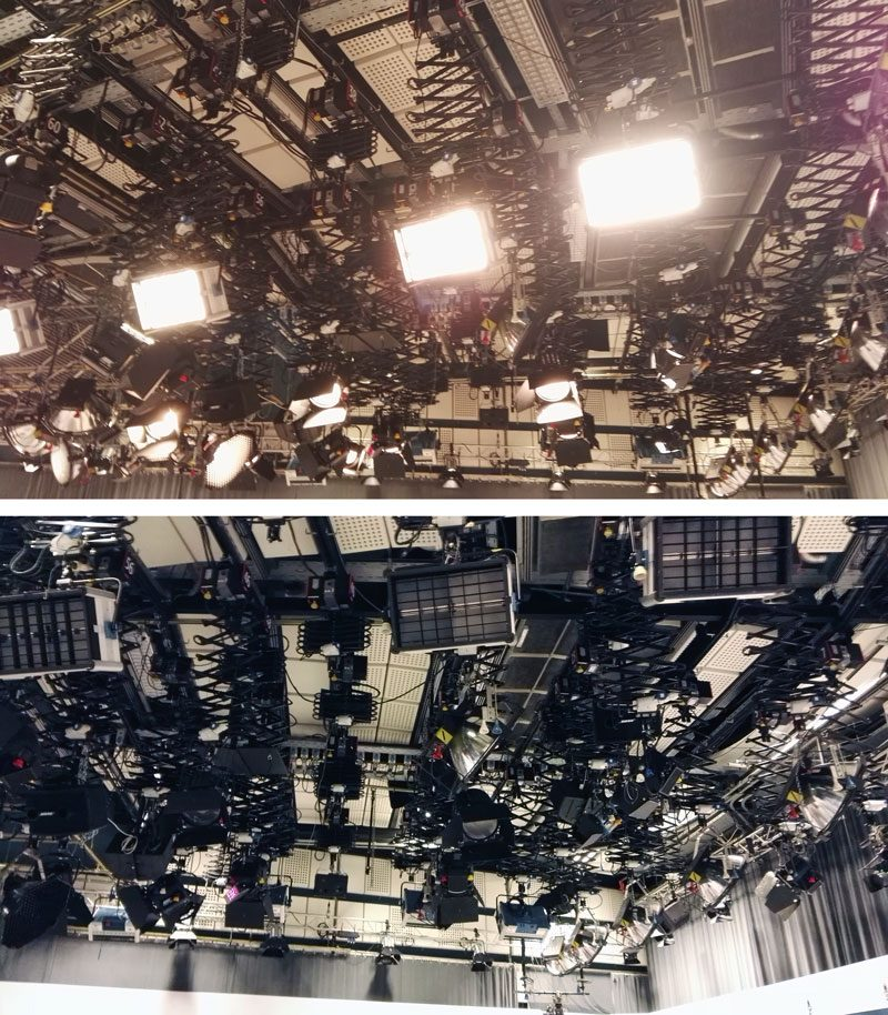 Dieses Bild zeigt die Beleuchtung des ORF Studios in Klagenfurt.