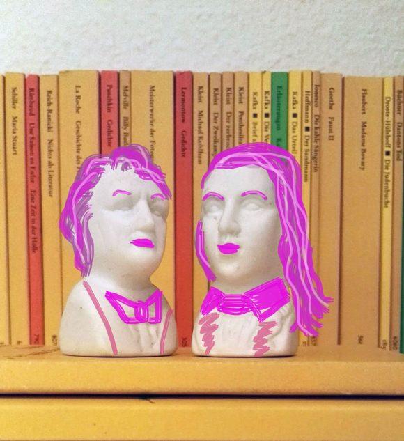 Dieses Bild zeigt Goethe und Schiller als weibliche Helden der Literaturwelt.